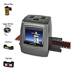 Magnasonic All-In-One High Resolution 22MP Film Scanner, Converts 126KPK/135/110/Super 8 Films, Slides, Negatives into Digital Photos, Vibrant 2.4″ LCD Screen, Impressive 128MB Built-In Memory