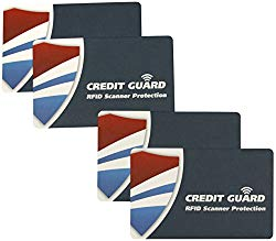 Credit Guard RFID Scanner Blocking Cards, Set of 4