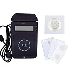 YIQing RFID NFC Reader Writer Mifare Copier Duplicator USB Smart Reader ISO14443A Contactless Reader with 13.56Mhz +2 Pcs 4442 Cards +2 Pcs Ntag213 Labels+ Free sdk