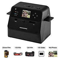 Magnasonic All-in-One Film & Photo Scanner, 14MP Resolution, Converts 4×6 Photos, 35mm/110/126/Super 8 Film & 135 Slides into Digital JPEGs, Vibrant 2.4″ LCD Screen, Fast Scanning (FS60)