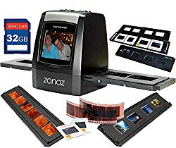 zonoz FS-ONE 22MP Ultra High-Resolution 35mm Negative Film & Slide Digital Converter Scanner w/TV Cable, (1) Negative, (4) Slide Trays, 32GB SD Card & Worldwide Voltage 110V/240V AC Adapter (Bundle)