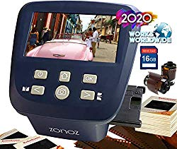 zonoz FS-Five Digital Film & Slide Scanner – Converts 35mm, 126, 110, Super 8 & 8mm Film Negatives & Slides to JPEG – Includes Large Bright 5-Inch LCD, Easy-Load Film Inserts Adapters (16GB SD Card)