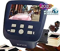 zonoz FS-Five Digital Film & Slide Scanner – Converts 35mm, 126, 110, Super 8 & 8mm Film Negatives & Slides to JPEG – Includes Large Bright 5-Inch LCD, Easy-Load Film Inserts Adapters