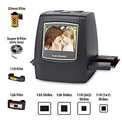 DIGITNOW Film Scanner with 22MP Converts 126KPK/135/110/Super 8 Films, Slides, Negatives All in One into Digital Photos,2.4″ LCD Screen, Impressive 128MB Built-in Memory