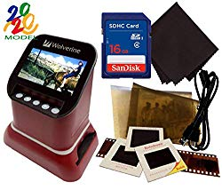 Wolverine F2D Saturn Digital Film & Slide Scanner – Converts 120 Medium Format, 127 Film, Microfiche, 35mm Negatives & Slides to Digital – 4.3″ LCD, 16GB SD Card, Z-Cloth & HDMI Cable Included (Red)